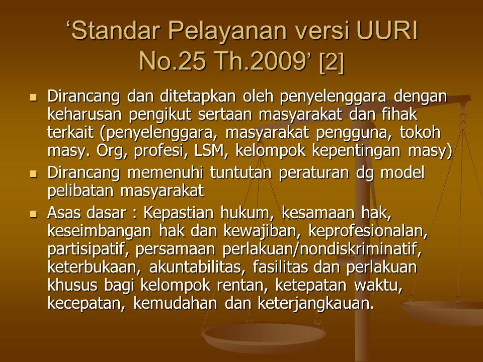 'Standar Pelayanan versi UURI No.25 Th.2009' [2]